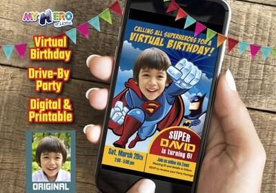 Superman Virtual Birthday, Superman Online Party, Superman Social Distance, Superman Digital Birthday Invitation. 124CV