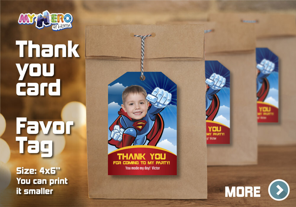 Superman Thank You for Driving By, Superman Favor Tag, Superman Thank You Card, Superman goodie tags, Superman party Favors.