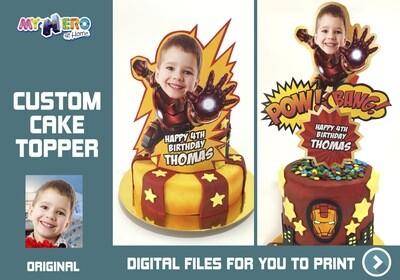 Iron Man Cake topper, Iron Man edible cake topper, Iron Man cake decoration, Iron Man personalized cake, Iron Man DIY Party. 537