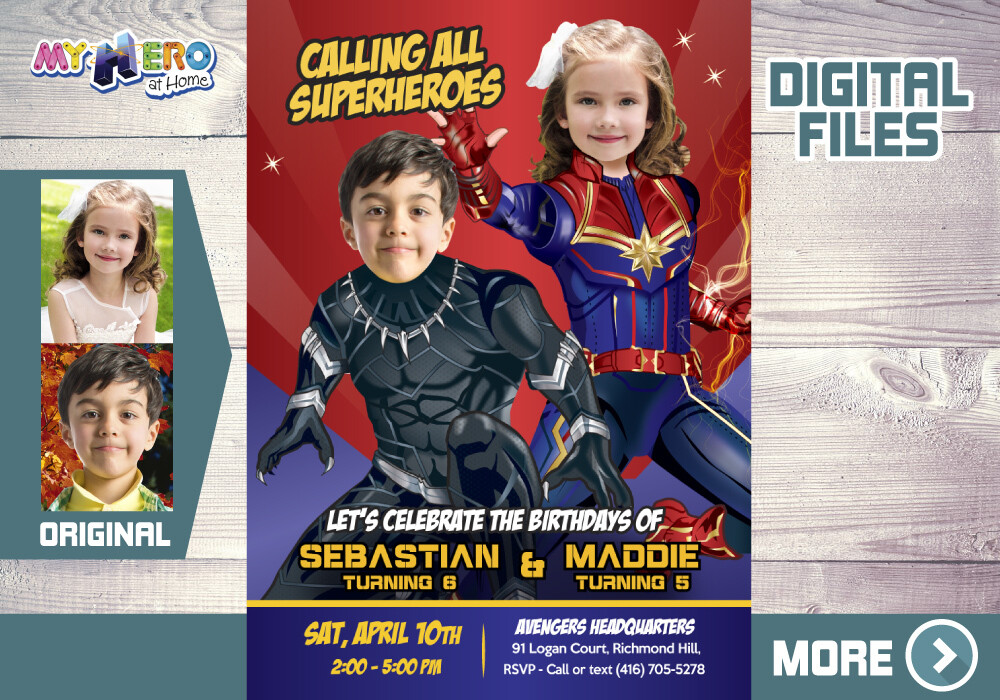 Black Panther and Captain Marvel Birthday Invitation, Captain Marvel and Black Panther Party, Joint Avengers theme Party. 540