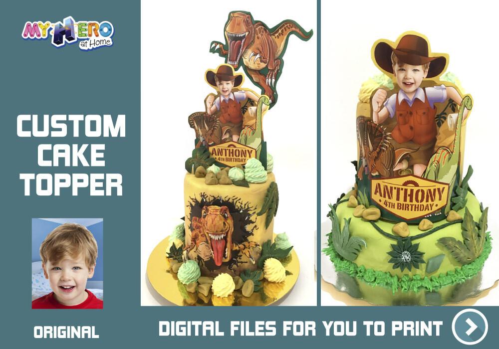 Dinosaurs Cake topper, Dinosaurs cake decoration, Dinosaurs cupcakes, Dinosaurs personalized cake topper, Dinosaurs DIY Party, Dinosaurs edible cake topper. 536