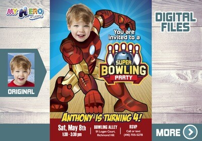 Iron Man Bowling Party Invitation, Bowling Party themed Iron Man,  Iron Man Bowling Birthday, Fiesta Bowling de Iron Man. 541A
