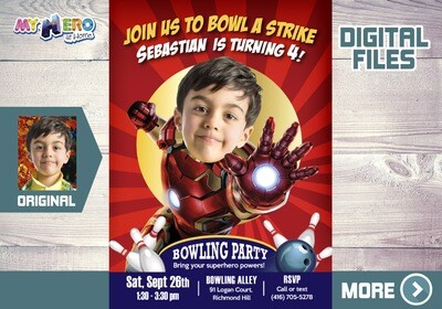 Iron Man Bowling Birthday Invitation, Iron Man Bowling theme party, Iron Man Bowling party, Fiesta Bowling tema Iron Man. 541B