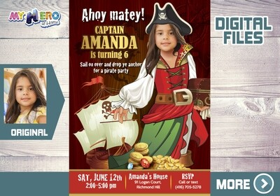 Girl Pirate Birthday Invitation, Girl Pirates theme Party Ideas, Girl Pirate Digital Invitation, Girls Pirates Virtual Birthday. 228