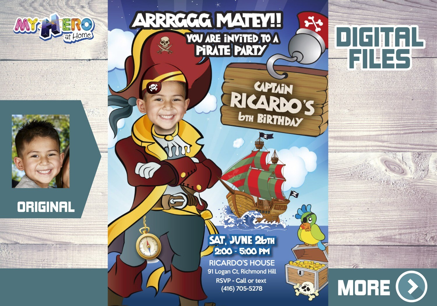 Pirate Birthday Invitation, Custom Pirate Party Invitation, Pirates Digital Invitation, Pirates Virtual Birthday, Pirates Party Parade. 231