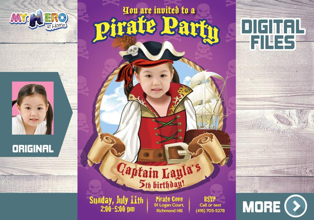 Girl Pirate Birthday Invitation, Girl Pirates theme Party, Girl Pirate Digital Invitation, Girls Pirates Online Birthday. 226