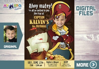 Pirate Birthday Invitation, Custom Pirate Party Invitation, Pirates Digital Invitation, Pirate Virtual Birthday, Pirates Party Parade. 227