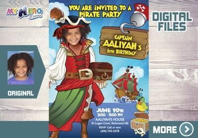 Girl Pirate Birthday Invitation, Girl Pirates theme Party Ideas, Girl Pirate Digital Invitation, Girls Pirates Drive By Birthday. 230