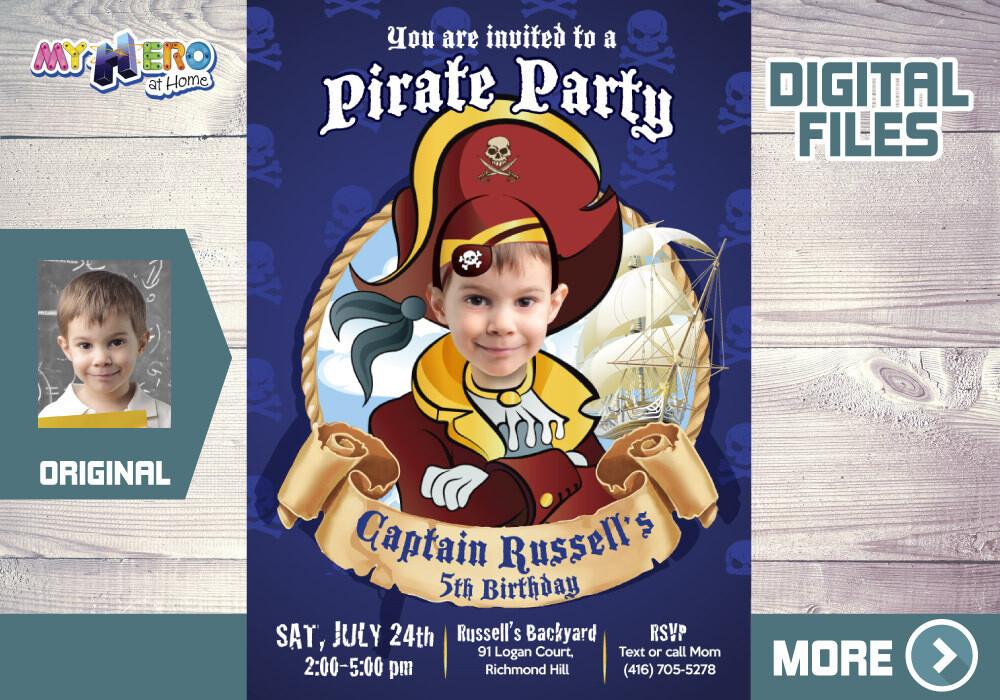 Pirate Birthday Invitation, Custom Pirate Party Invitation, Pirates Digital Invitation, Pirates Virtual Birthday, Pirates Party Parade. 225