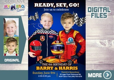 Joint Race Car Birthday Invitation, Race Car Digital Invitation, Siblings Race Car Party, 2 kids Race Car Birthday, Race Car Parade. 316B
