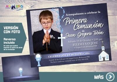 Invitacion para Primera Comunion para Ninos. 1era Comunion Invitacion. Invitacion 1era comunion. 382SP