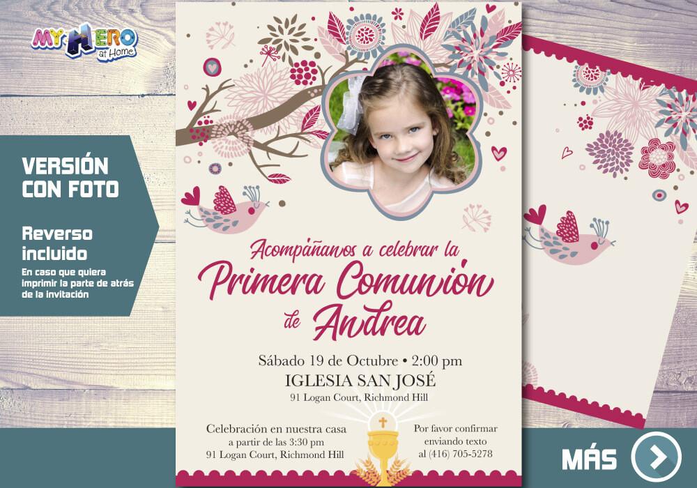 Invitacion para Primera Comunion para Ninas. 1era Comunion Invitacion. Invitacion 1era comunion. 386SP