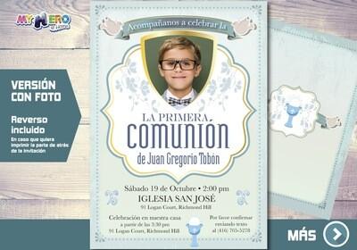 Invitacion para Primera Comunion para Ninos. 1era Comunion Invitacion. Invitacion 1era comunion. 379SP