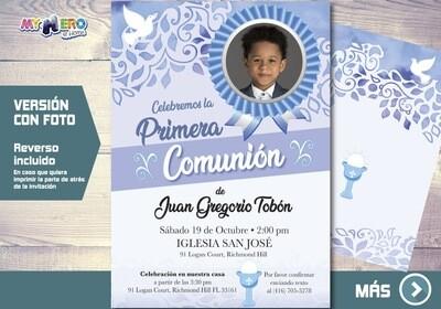 Invitacion para Primera Comunion para Ninos. 1era Comunion Invitacion. Invitacion 1era comunion. 380SP