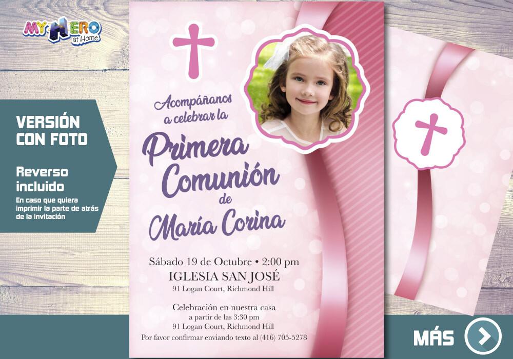 Invitacion para Primera Comunion para Ninas. 1era Comunion Invitacion. Invitacion 1era comunion. 384SP