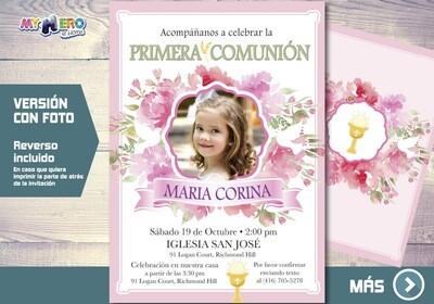 Invitacion para Primera Comunion para Ninas. 1era Comunion Invitacion. Invitacion 1era comunion. 383SP