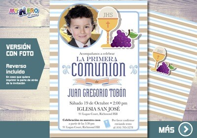 Invitacion para Primera Comunion para Ninos. 1era Comunion Invitacion. Invitacion 1era comunion. 381SP