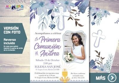 Invitacion para Primera Comunion para Ninas. 1era Comunion Invitacion. Invitacion 1era comunion. 385SP