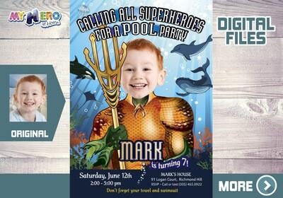 Aquaman Birthday Invitation, Aquaman Pool Party Invitation, King of Atlantis Invitation, Justice League Pool Party, Aquaman Digital, 190