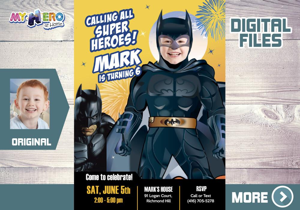 Batman Birthday Invitation. Batman theme Party. Batman Digital Invitation. Batman Thank You card. 063