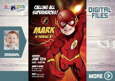 Flash Party Invitation, Flash theme birthday, Get here in a Flash Birthday, Flash Birthday, Flash Digital, Flash Thank You. 149