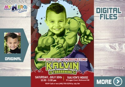 Hulk Birthday Invitation, Hulk Digital Invitation, Hulk Virtual, Hulk Thank You, Hulk Party Favor, Hulk Favor Tags, Huk Party Theme. 088