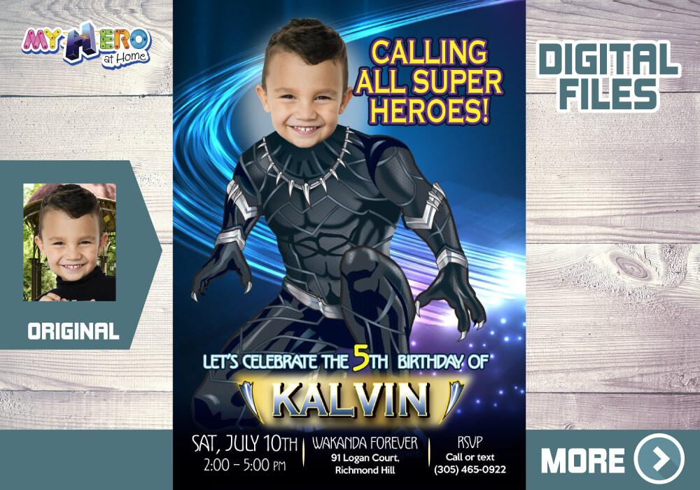 Black Panther Invitation, Black Panther Digital, Black Panther Birthday, Black Panther Thank You, Fiesta Pantera Negra. 161
