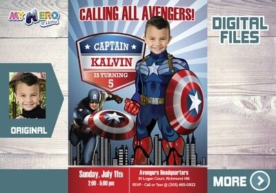 Captain America Birthday Invitation, Captain America Party, Captain America Birthday, Avengers Party Invitation, Fiesta Capitán América, 075
