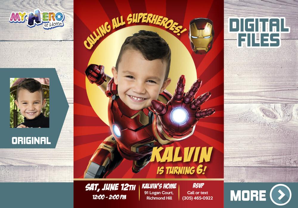 Iron Man Birthday Invitation, Iron man Party, Iron Man Digital Invitation, Iron man Virtual, Iron man Thank You. 098