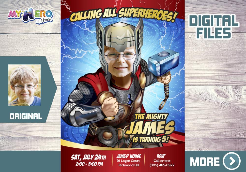 Thor Birthday Invitation, Thor theme party, Thor Digital Invitation, Thor Virtual Party, Thor Thank You, Thor Invitation, Thor Party favors. 154