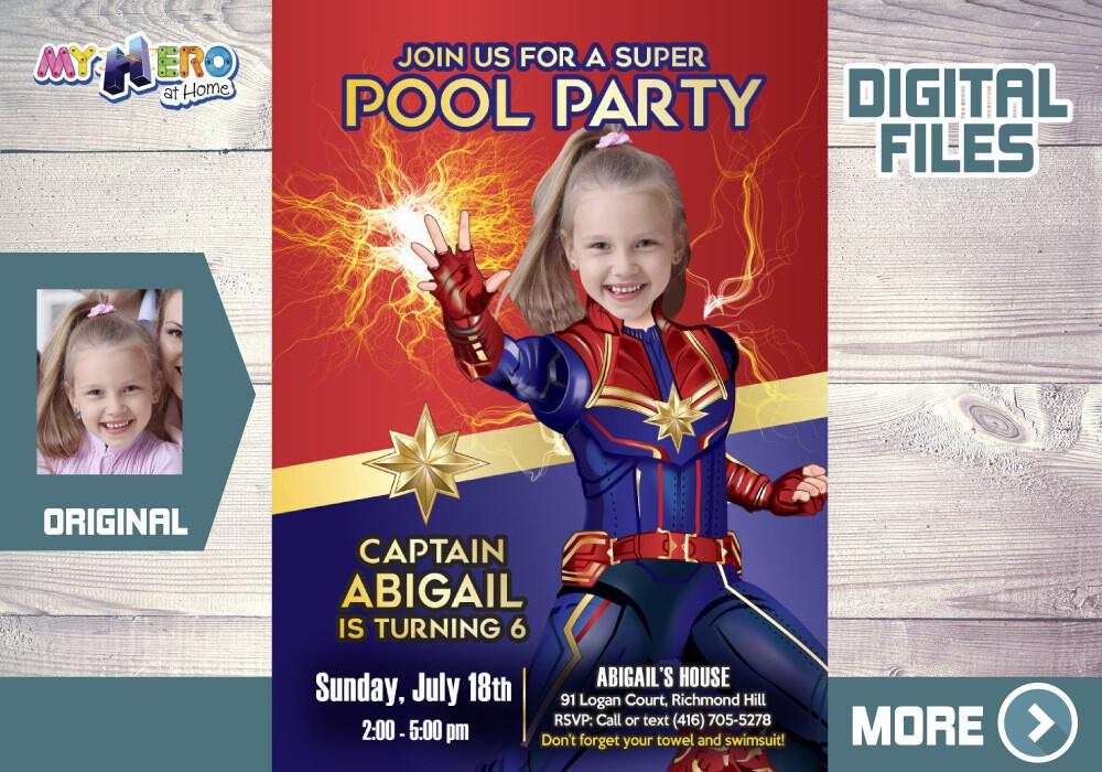 Captain Marvel Pool Party Invitation, Captain Marvel Waterslide Party, Captain Marvel  Digital Invitation, Captain Marvel Thank you. 353