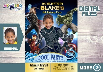 Black Panther Pool Party Invitation, Black Panther Digital Invitation, Black Panther Thank You, Wakanda Forever pool party. 174