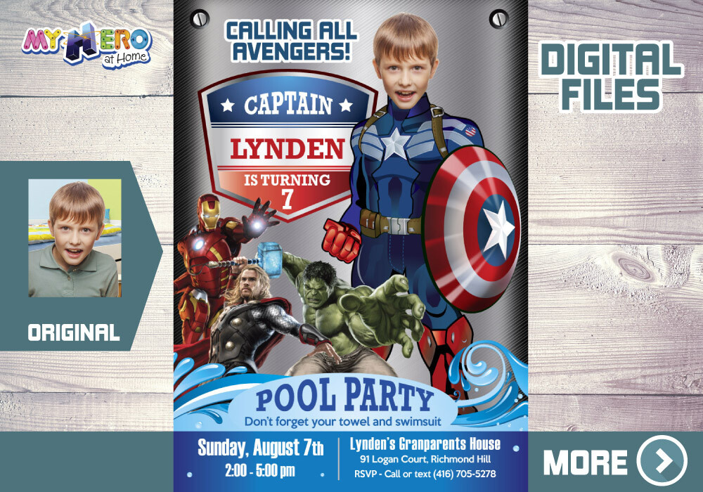Captain America Pool Party Invitation, Captain America Digital Invitation Invitation, Captain America Thank You, Avengers Pool party. 078