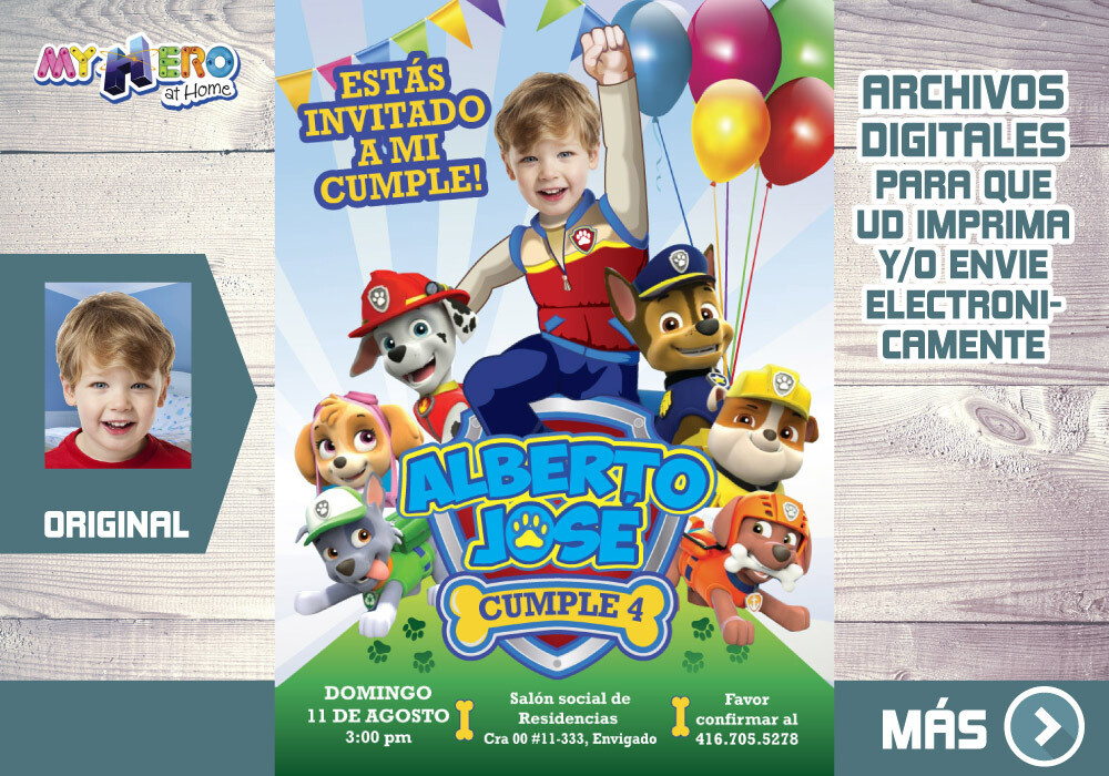 Fiesta Patrulla Canina. Invitacion Patrulla Canina. Fiesta tema Paw Patrol. Invitacion digital Patrulla Canina. 377SP