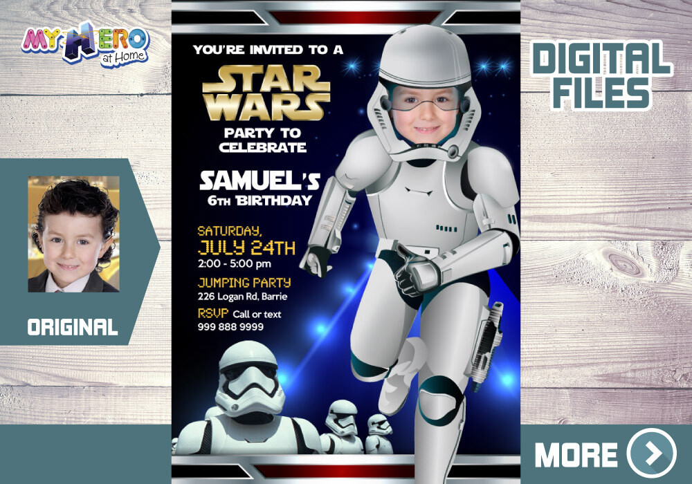 Stormtroopers Birthday Invitation. Stormtroopers Digital Invitation. Stormtroopers Thank You card. Stormtroopers theme party. 036