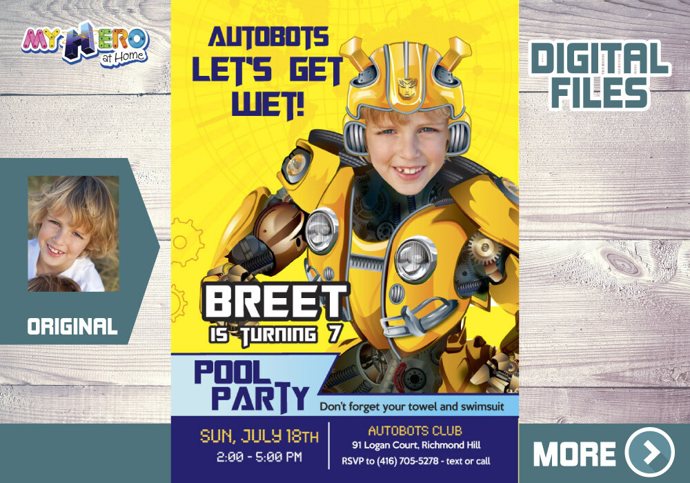 Bumblebee Pool Party Invitation. Transformers Pool Party Invitation. Bumblebee Digital Invitation. 352