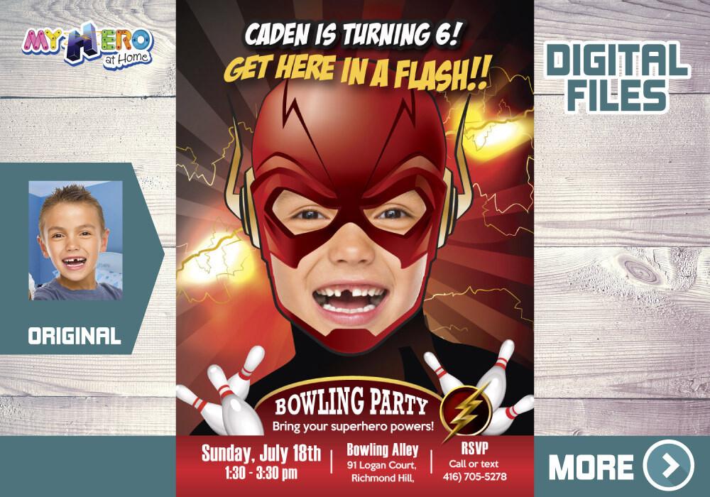 Flash Bowling Party Invitation, Superhero Bowling Party, Flash Digital Invitation, Flash thank you, Flash party favors. 142