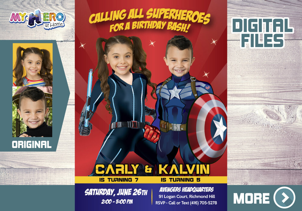 Black Widow and Captain America Birthday Invitation, Avengers Siblings Party, Joint Captain America and Black Widow Party. 543