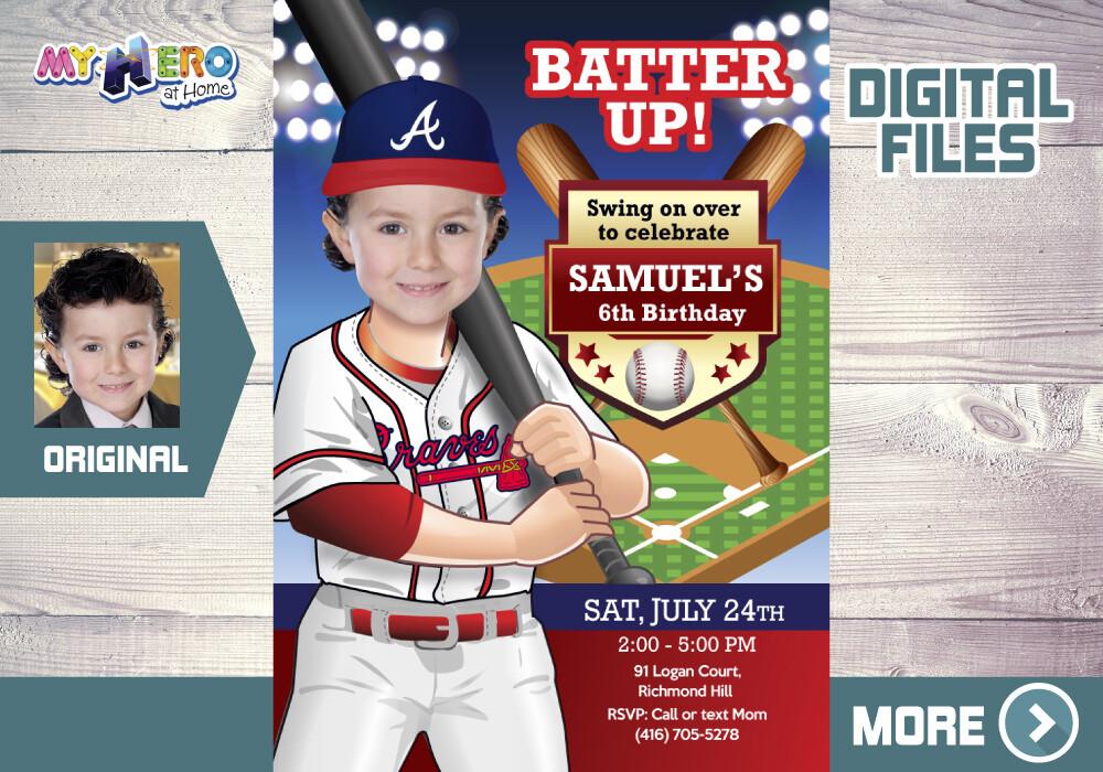 Atlanta Braves Birthday Invitation. Baseball Birthday Invitation. The Braves children Party. The Braves Digital Invitation. 544