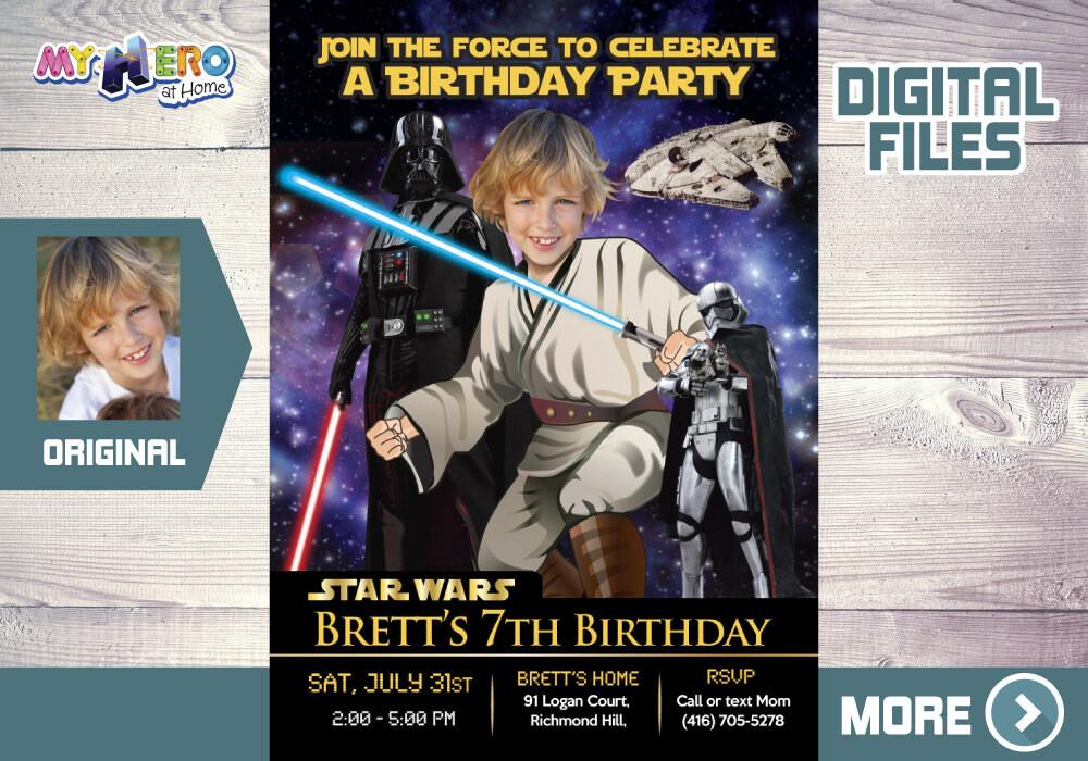 Jedi Birthday Invitation, Star Wars theme Party, Jedi Digital Invitation, Jedi Thank You, Jedi party favors, Star Wars Invitation. 214