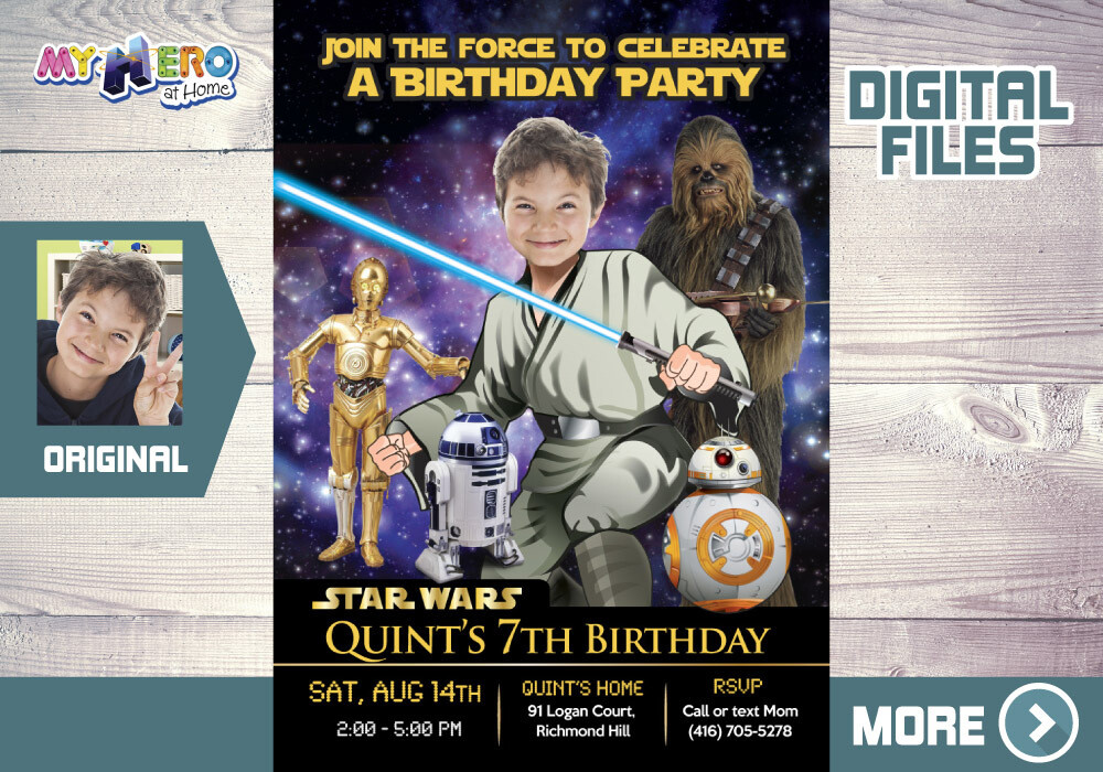 Jedi Birthday Invitation, Star Wars theme Party, Jedi Digital Invitation, Jedi Thank You, Jedi party favors, Star Wars Invitation. 018V