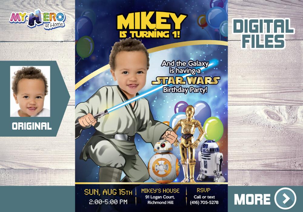 Baby Jedi 1st Birthday Invitation, Star Wars 1st Birthday, Baby Jedi 1st Party, First Birthday Jedi, Baby Jedi Invitation. 017