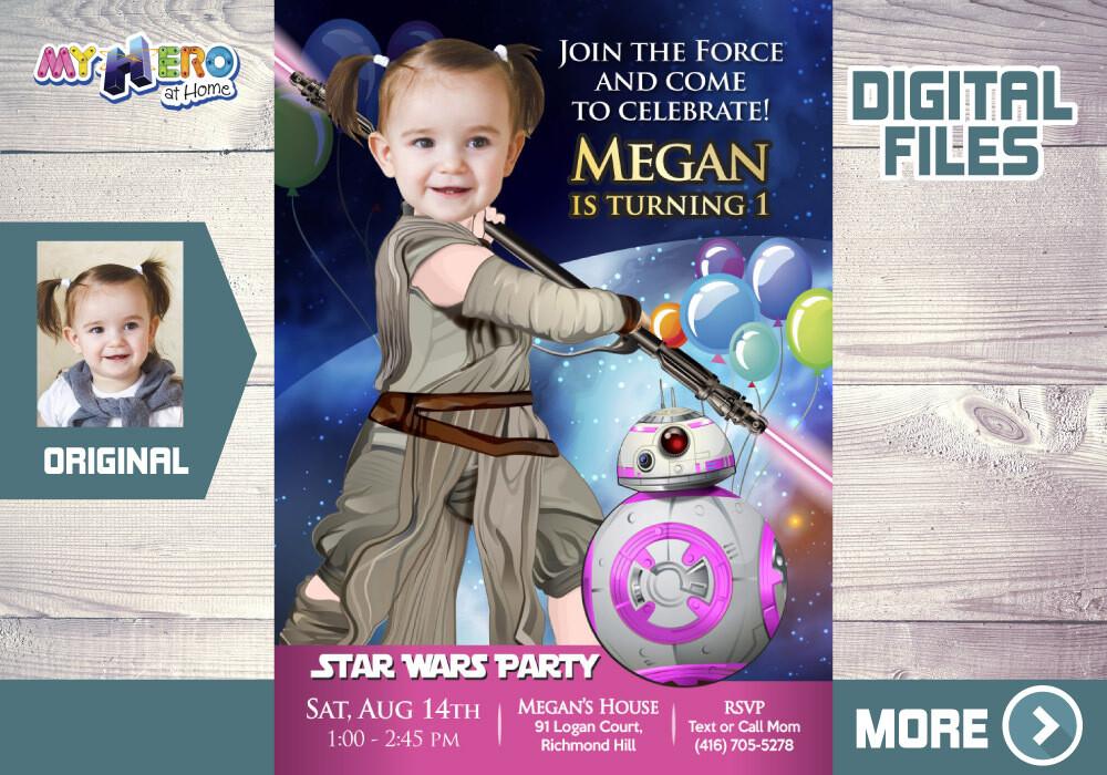 Baby Jedi Rey 1st Birthday Invitation, Star Wars Baby Girl 1st Invitation, First Birthday Jedi Rey, Baby Jedi Rey 1st Party. 413