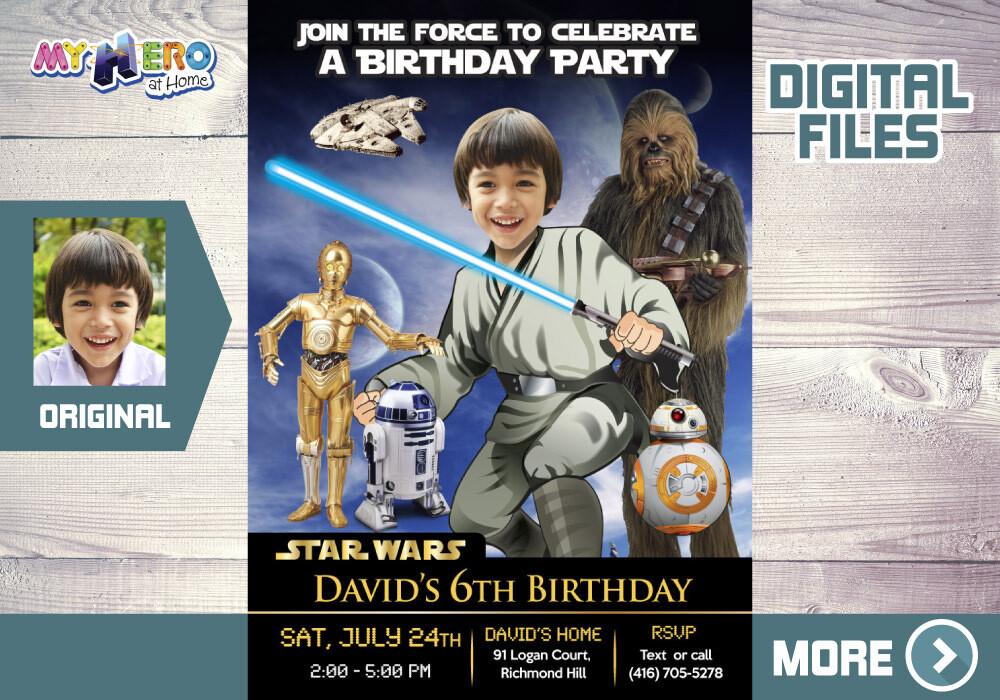 Jedi Birthday Invitation, Star Wars theme Party, Jedi Digital Invitation, Jedi Thank You, BB-8, R2-D2, C-3PO & Chewbacca Party Invitation. 023