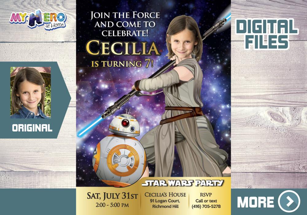 Girl Star Wars Birthday Invitation, Jedi Rey Birthday Invitation, Jedi Rey theme party, Jedi Rey favor tags. 024