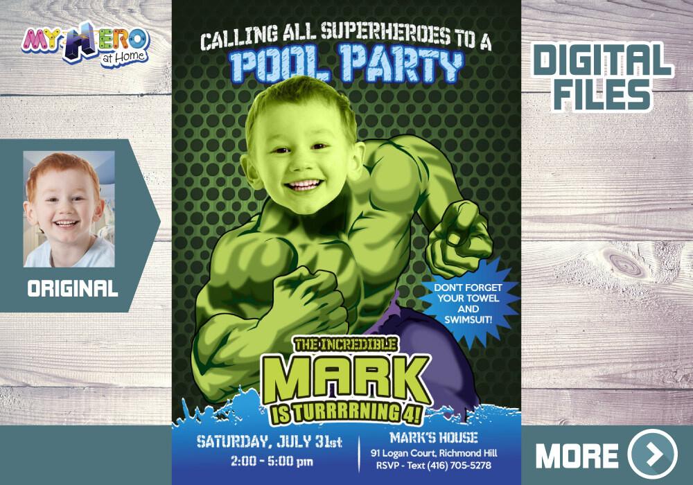 Hulk Pool Party Invitation, Hulk Pool Party Birthday, Hulk Pool Party Ideas, Hulk Birthday Ideas, Avengers Pool Party. 090