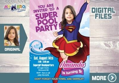 Supergirl Pool Party Invitation, Pool Party Super Hero Girls, Supergirl Birthday, Supergirl theme Party, Supergirl thank you, Supergirl party favors. 114