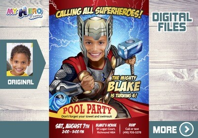 Thor Pool Party Invitation, Avengers Pool party invitation, Thor Water Party, Thor Water Slide, Thor Splash Party, Thor Thank You. 350