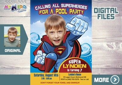 Superman Pool Party Invitation, Superman Water Party, Superman Water Slide, Superman Splash Party, Superman Thank You. 356