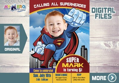 Superman Birthday Invitation, Superman party Invitation, Superman Digital Invitation, Superman theme party, Superman Thank You. 123